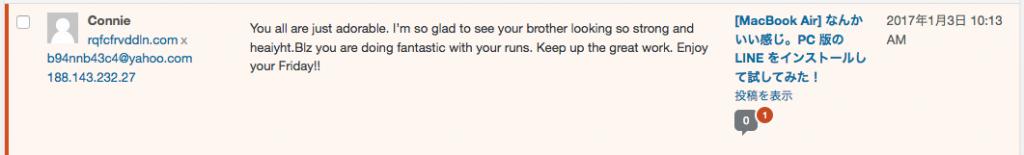 WORDPRESSのダッシュボードから見たスパムメッセージ